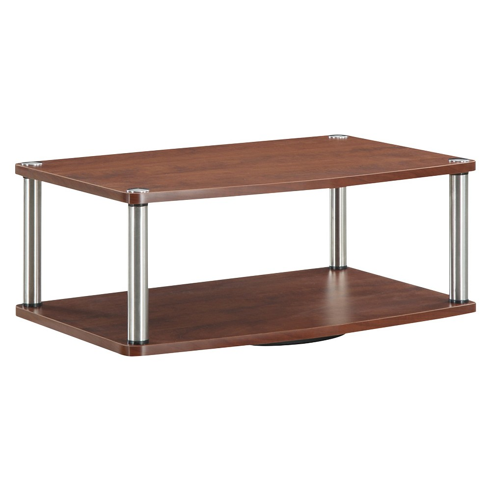 "Image of ""24"""" Two Tier Swivel TV Stand Cherry - Johar Furniture, Brown"""