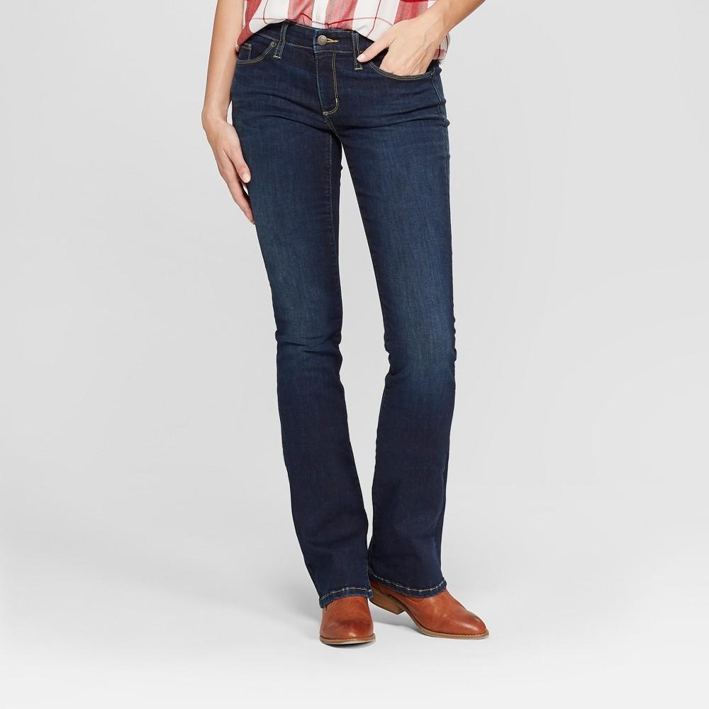 Women's Mid-Rise Bootcut Jeans - Universal Thread Dark Wash 10 Short, Blue