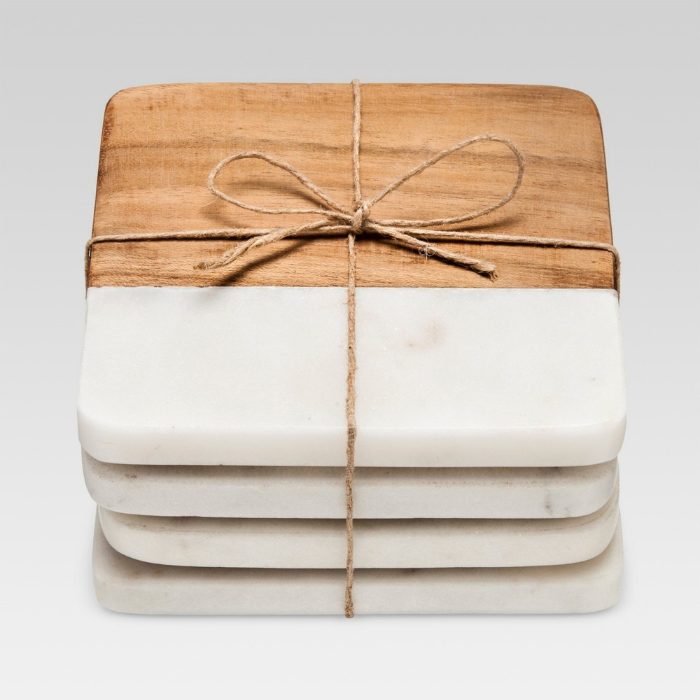 Marble & Wood Coasters Set of 4White/Brown - Threshold, White/Brown