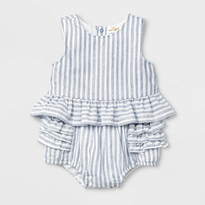 Baby Girls' Striped Bloomer Top & Bottom Set - Cat & Jack™ Blue 3-6M