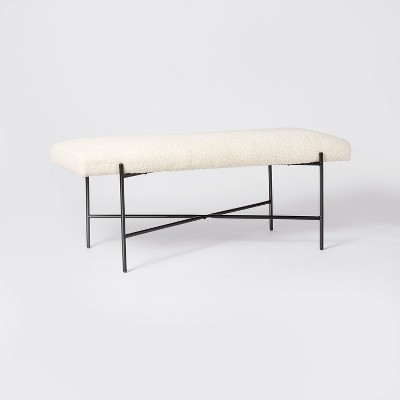 Clarkston Metal Base Upholstered Bench Cream Boucle - Threshold™ designed with Studio McGee