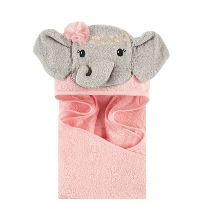 Little Treasure Baby Girl Cotton Animal Face Hooded Towel, Blossom Elephant, One Size