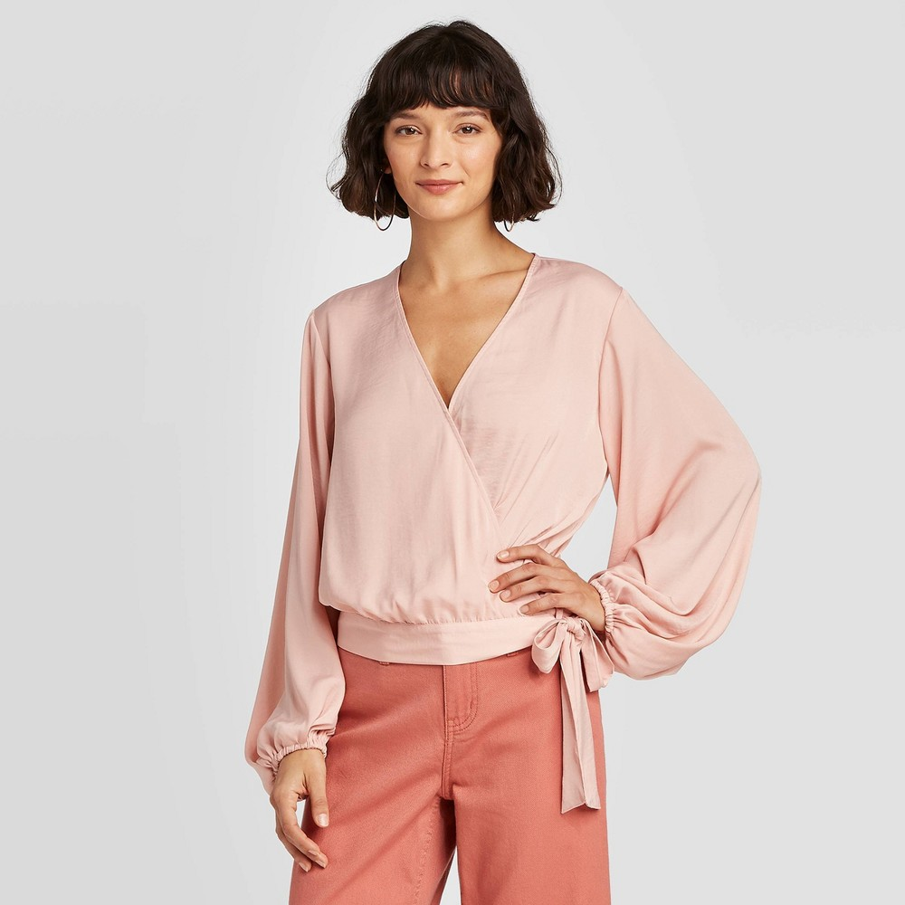 Women's Balloon Long Sleeve Wrap Top - A New Day Pink M was $24.99 now $17.49 (30.0% off)