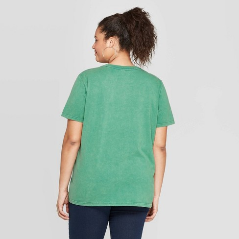 3261a7f0e Women's Plus Short Sleeve Full Of Wander Graphic T-Shirt - Mighty Fine  (Juniors') - Green : Target
