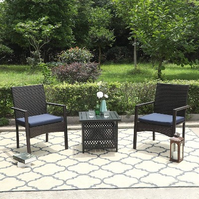 """3pc Patio Dining Set with 22"""" Square Metal Table with Umbrella Hole & 2 Rattan Chairs - Black - Captiva Designs"""