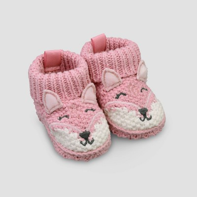 Baby Girls' Knit Fox Slippers - Just One You® made by carter's Pink