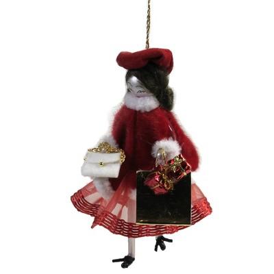 """Italian Ornaments 5.25"""" Girl In Red & White Cape Ornament Italian Diva Couture  -  Tree Ornaments"""