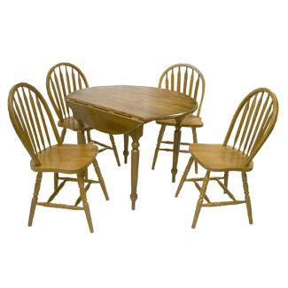 5 Piece Arrow Back Dining Set Wood/Oak - TMS