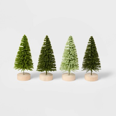 4pk 4in Bottle Brush Tree Decorative Figurine Set Green - Wondershop™