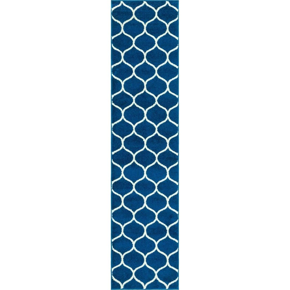 2 39 X9 39 Runner Rounded Trellis Frieze Rug Navy Blue Ivory Unique Loom