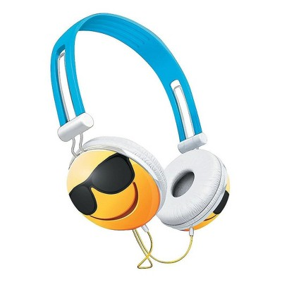 Nerd Block Emoji Overhead Stereo Headphones, Sunglasses