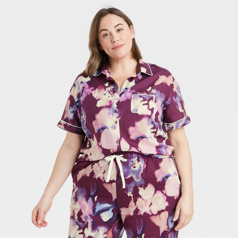 Women 39 S Plus Size Floral Print Simply Cool Short Sleeve Button Up Shirt Stars Above 8482 Purple 3x