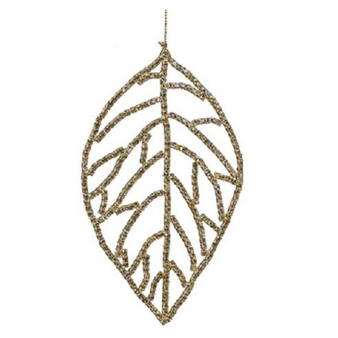 """Allstate 5.5"""" Leaf with Rhinestone Christmas Ornament - Gold/Amber - image 1 of 1"""
