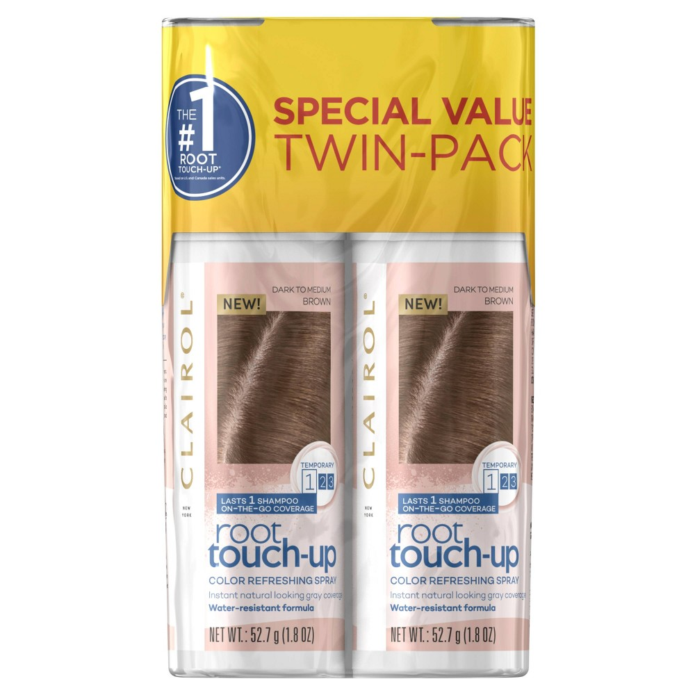 Image of Clairol Root Touch-Up Color Refreshing Spray Twin Pack - Medium Brown - 3.6oz