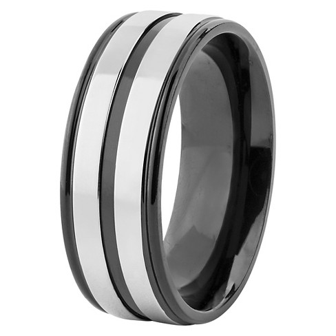 Men's Titanium Plated Grooved Ring - Black - West Coast Jewelry - image 1 of 5