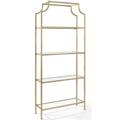 Metal Glass Bookcase in Antique Gold - Pemberly Row