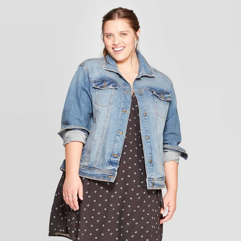 Women's Plus Size Jean Jacket - Universal Thread™ Medium Wash - image 1 of 3