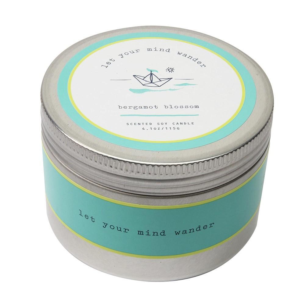 Image of 4.1oz Lidded Tin Candle Bergamot Blossom - Happy Place, Blue