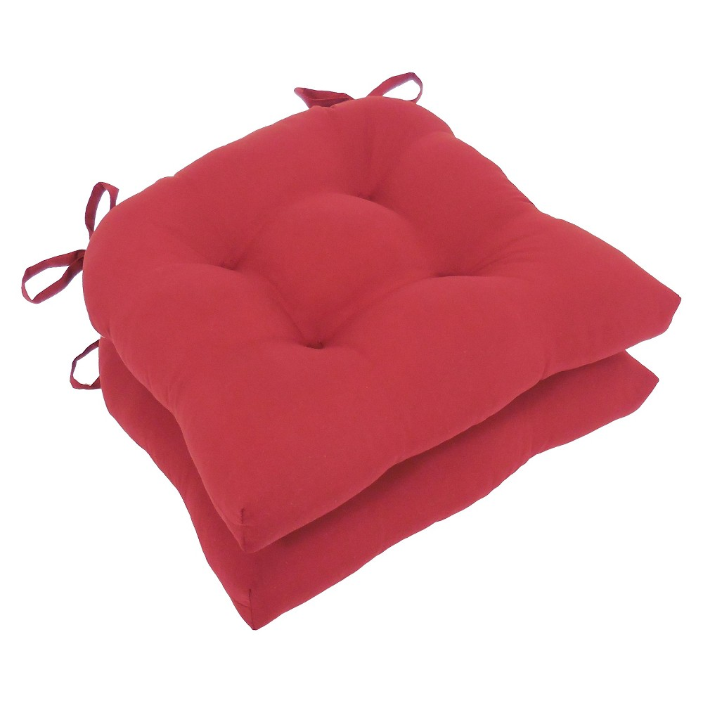 Image of Barn Red Micro Fiber Chair Pads With Tie Backs (Set Of 4) - Essentials