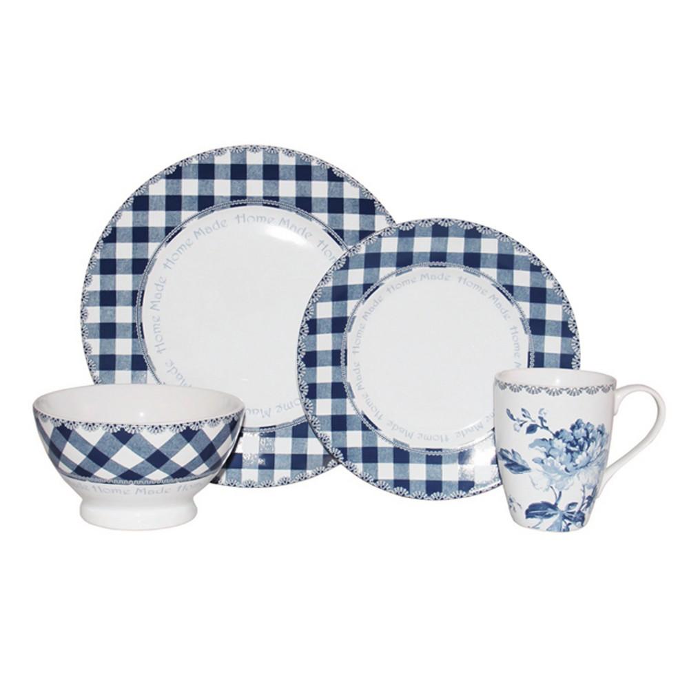 222 Fifth Floral Plaid Porcelain 16pc Dinnerware Set Blue