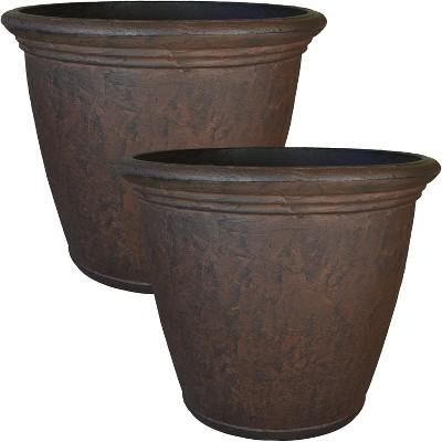 "Sunnydaze Indoor/Outdoor Patio, Garden, or Porch Weather-Resistant Double-Walled Anjelica Flower Pot Planter - 24"" - Rust Finish - 2pk"