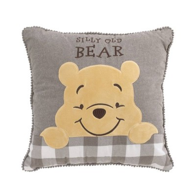 Disney Winnie The Pooh Hunny and Me Throw Pillow - Gray/Marigold/White