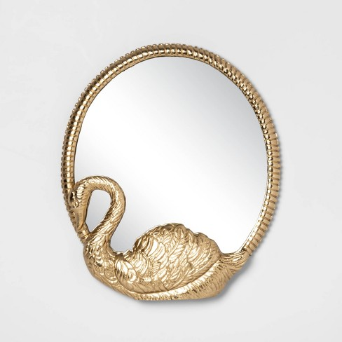 "14"" x 12"" Decorative Cast Brass Swan Mirror Gold  - Opalhouse™ - image 1 of 2"