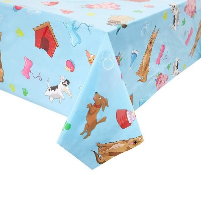 """Blue Panda 3 Pack Puppy Dog Party Disposable Tablecloth Table Cover for Kids Girls Boys, 54 x 108"""""""