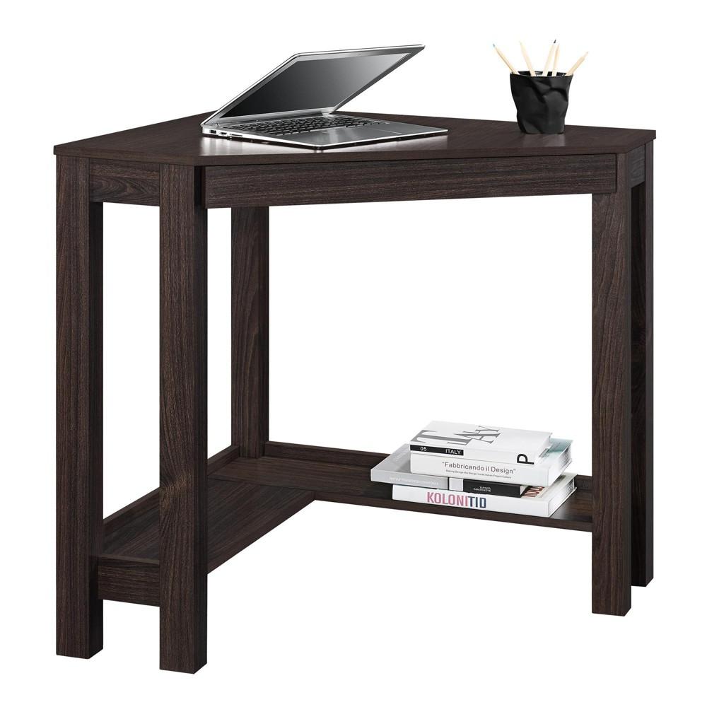 George Corner Desk Espresso (Brown) - Room & Joy