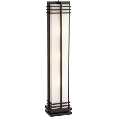 Possini Euro Design Art Deco Floor Lamp Espresso Wood Beige Linen Column Shade Standing Light for Living Room Bedroom Office