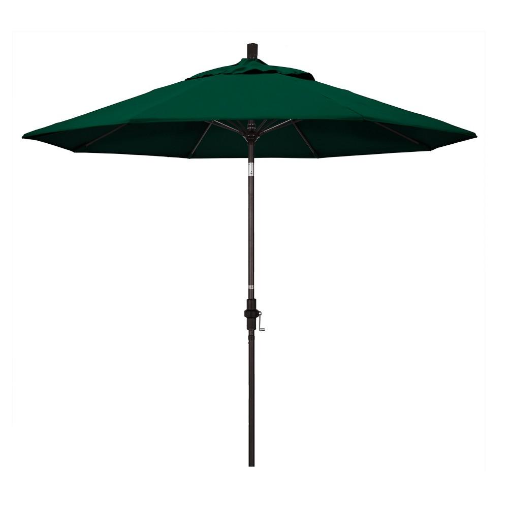 Image of 9' Aluminum Collar Tilt Crank Patio Umbrella - Hunter Green Sunbrella