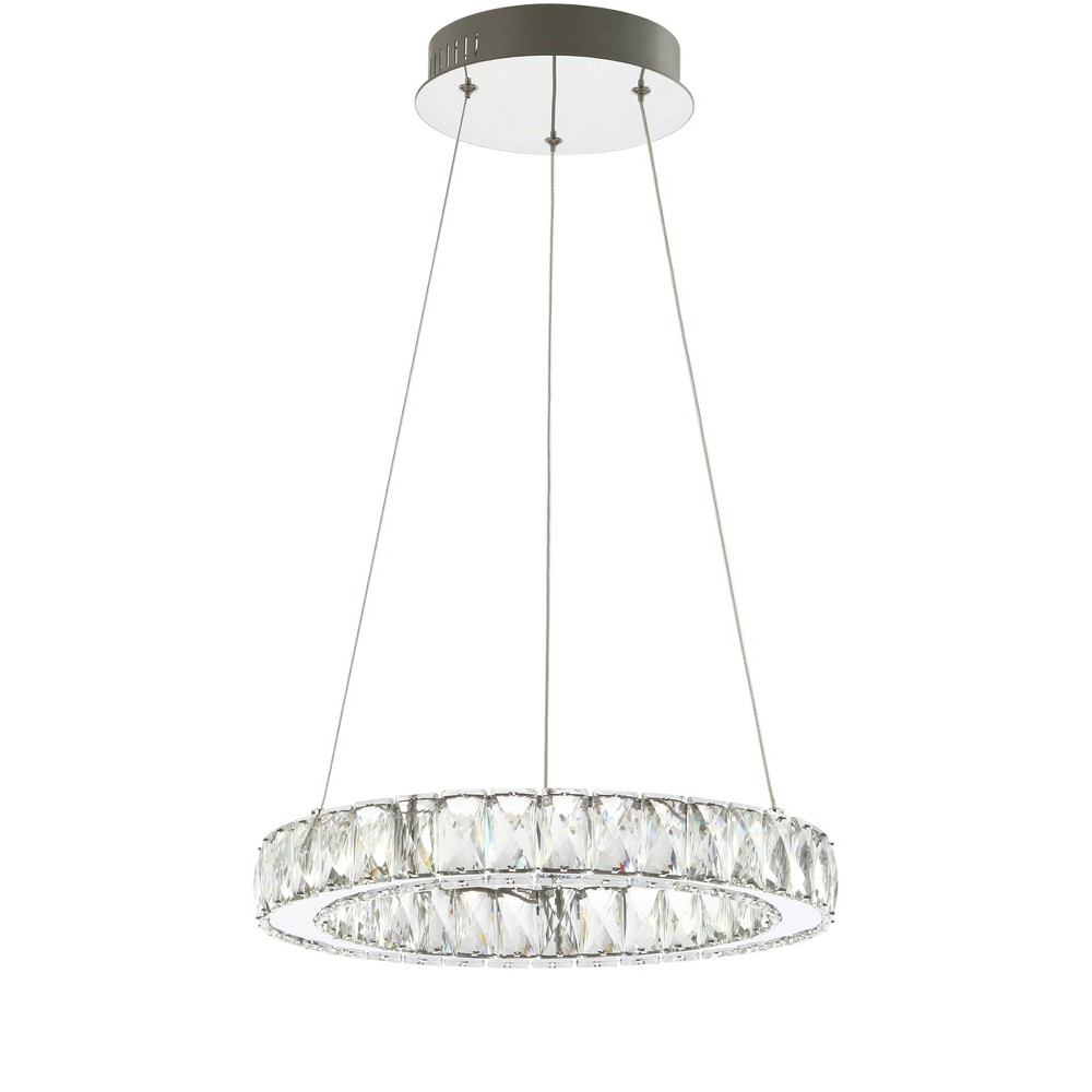 """Image of """"15.75"""""""" Reese Adjustable Integrated LED Metal/Crystal Chandelier Pendant Chrome (Includes Energy Efficient Light Bulb) - JONATHAN Y"""""""