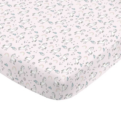 NoJo Super Soft Pink Unicorn Nursery Crib Fitted Sheet