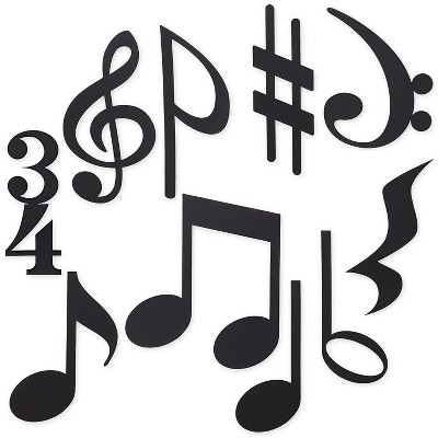 50x Musical Notes Silhouettes for Bulletin Board Decor, Black, approx. 9 inch