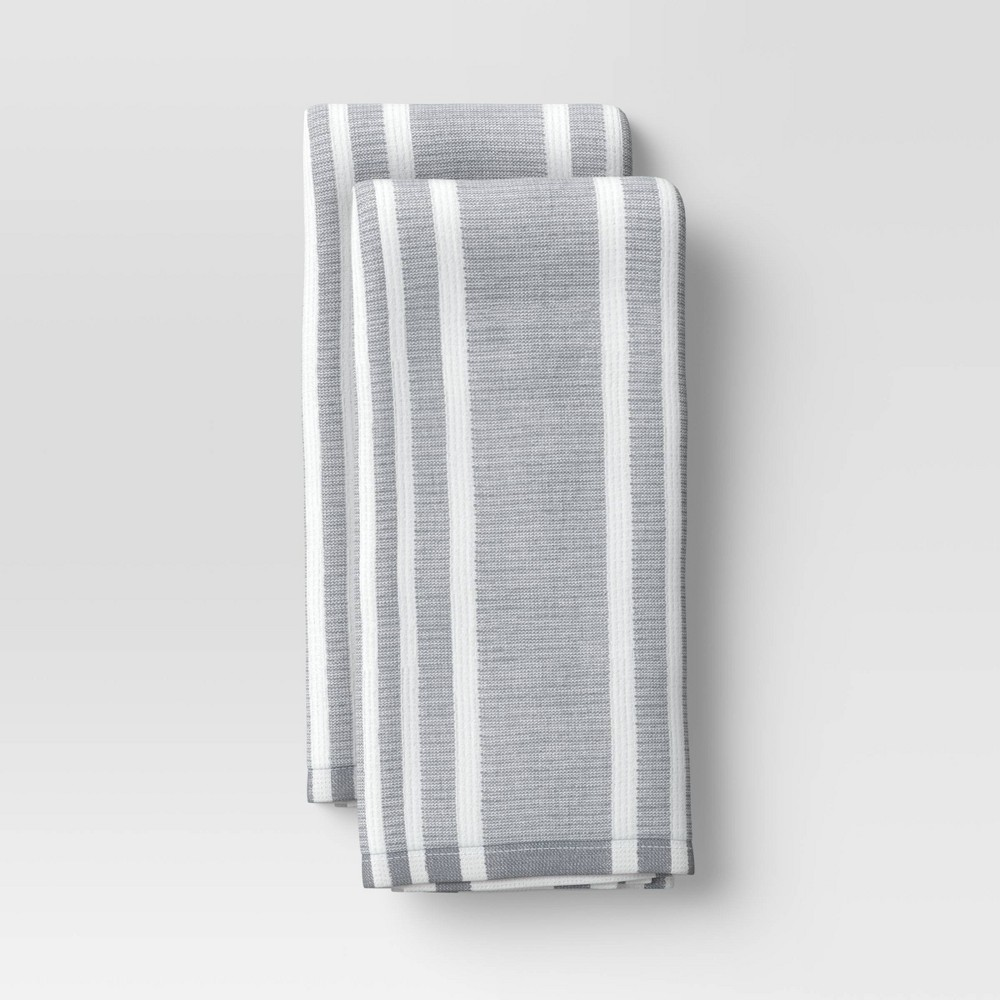2pk Cotton Striped Terry Kitchen Towels Gray Threshold 8482