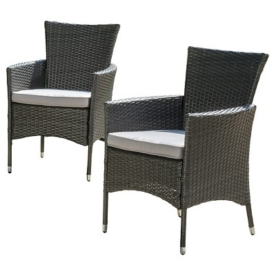 Malta Set of 2 Wicker Patio Dining Chair with Cushions - Gray - Christopher Knight Home