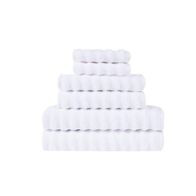6pc 100% Cotton Zero Twist Bath Towel Set White - Sean John