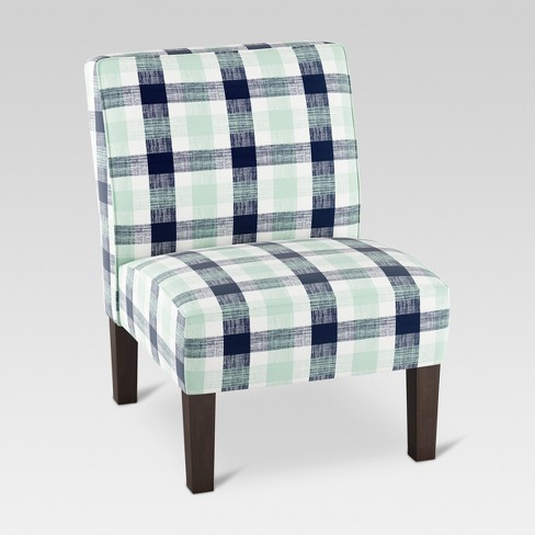 Astounding Burke Slipper Chair Navy Green Check Threshold Unemploymentrelief Wooden Chair Designs For Living Room Unemploymentrelieforg