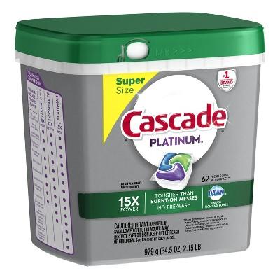 Cascade Platinum Fresh Scented Dishwasher Detergent - 62ct