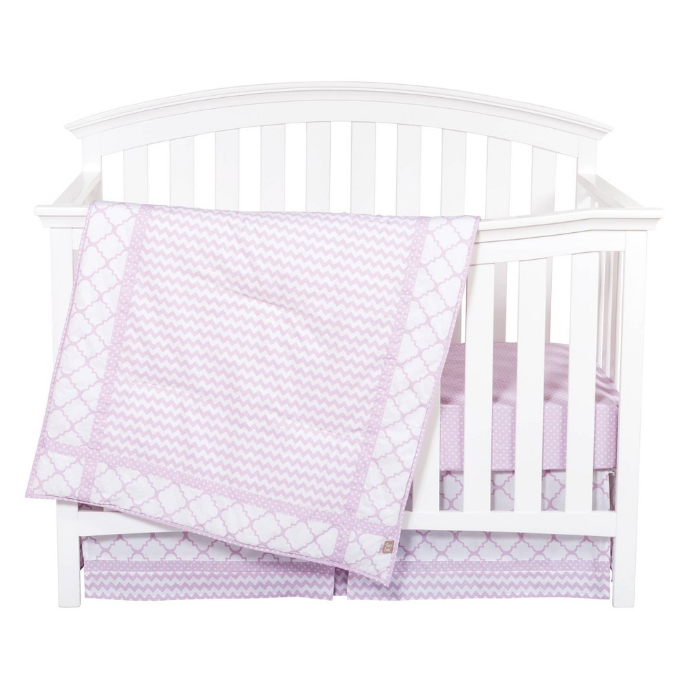 Image of Trend Lab Orchid Bloom Crib Bedding Set - 3pc