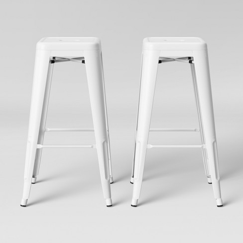 Miraculous Set Of 2 Carlisle Backless Barstool Matte White Threshold Andrewgaddart Wooden Chair Designs For Living Room Andrewgaddartcom