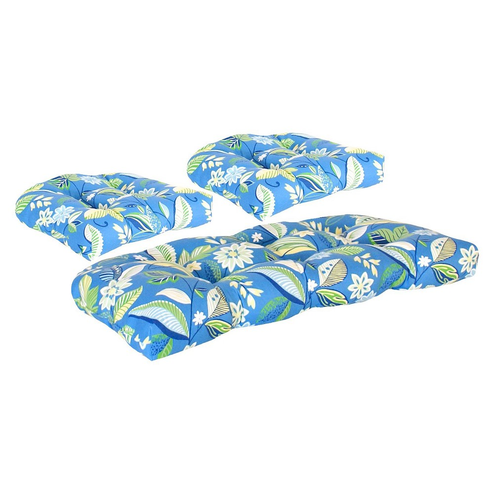Image of 3-Piece Outdoor Wicker Conversation/Deep Seating Cushion - Blue/Green Floral