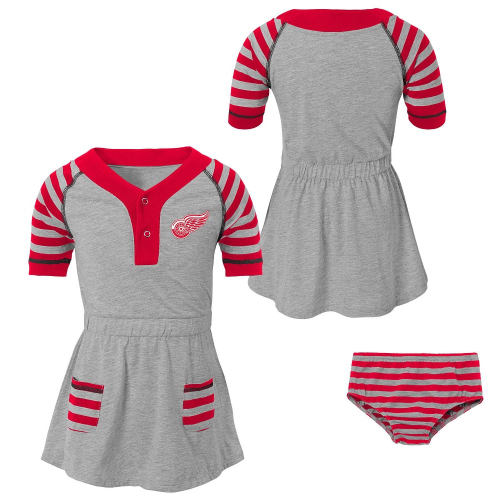 Detroit Red Wings Girls' Infant/Toddler Striped Gray Dress - 3T, Multicolored
