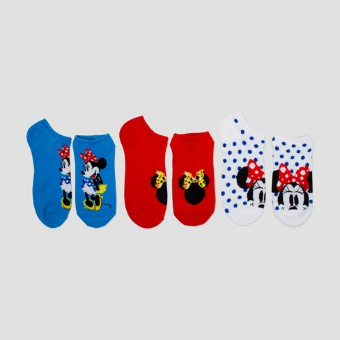 Women's Minnie Mouse 3pk Low Cut Socks - Red/White/Blue One Size - image 1 of 1