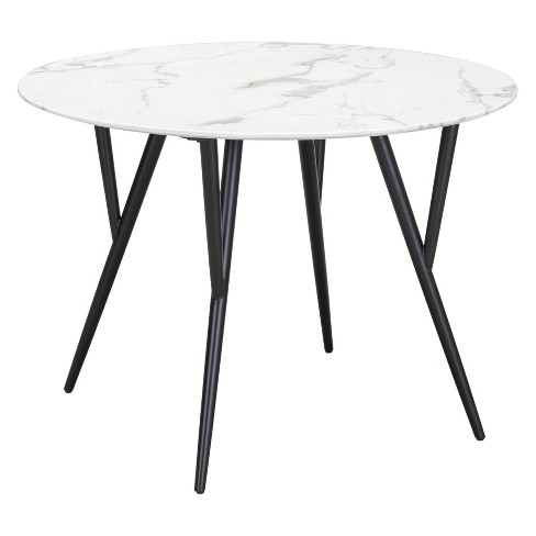 42 Modern Faux Marble Round Dining Table Stone Matte Black Zm Home