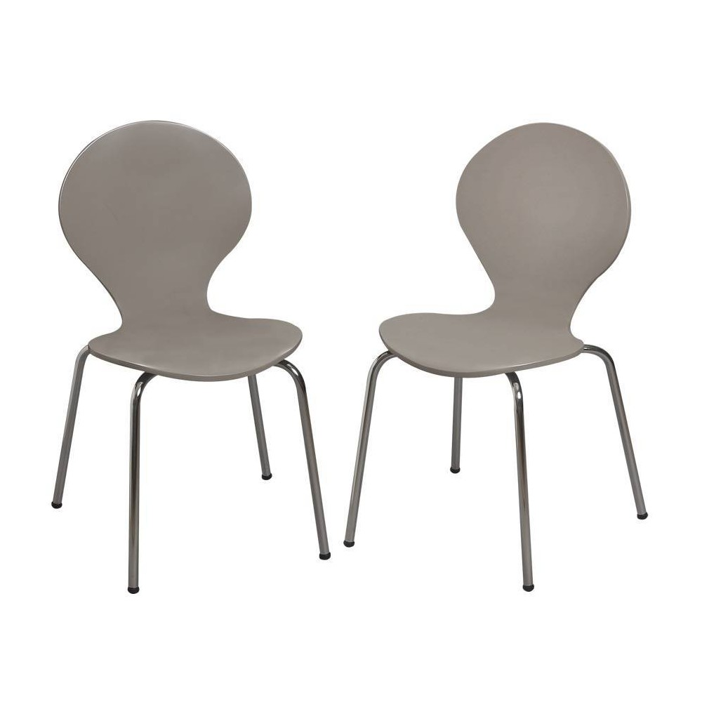 Set Of 2 Kids 39 Bentwood Chairs With Chrome Legs Gray Gift Mark