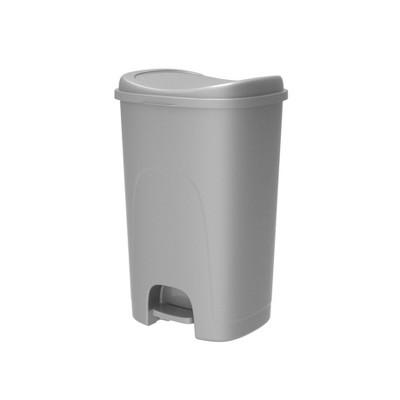 Hefty 12.7gal Lid Lock Step Trash Can Silver