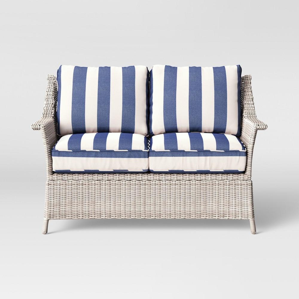 Bar Harbor Cabana Stripe Patio Loveseat - Navy/White (Blue/White) - Threshold