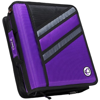 Case-it Z-Design Zippered Binder with Tab File, D-Ring, 1-1/2 Inches, Purple