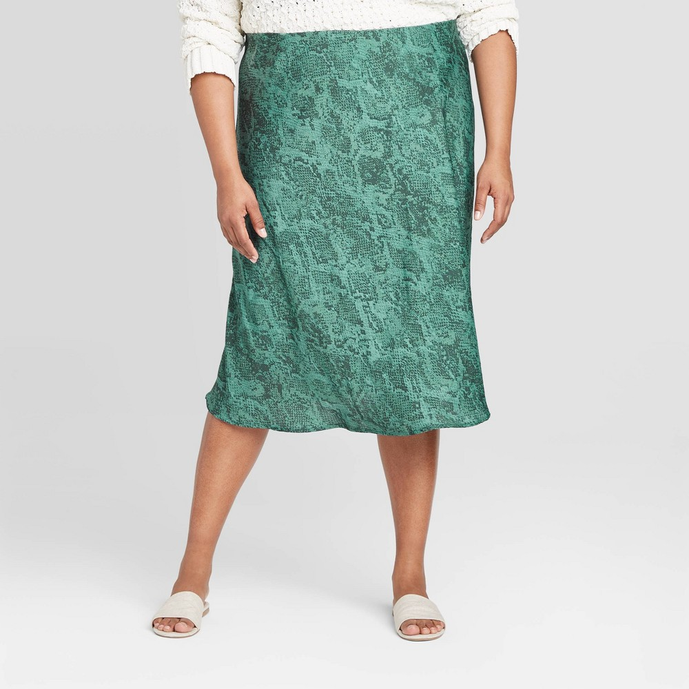 Women's Plus Size Animal Print Satin Slip Skirt - A New Day Teal 3X, Blue was $22.99 now $11.49 (50.0% off)